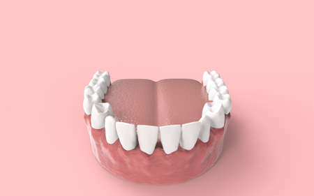 Tooths on background. 3D rendering. Stock Photo