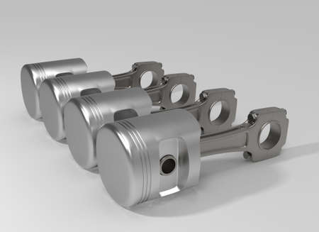 Car pistons. 3D rendering.