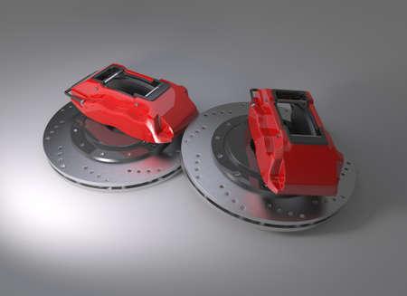 Disk brake on background.3D rendering. Archivio Fotografico