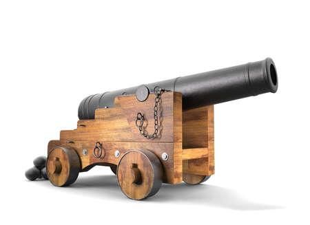 Kanone altes Set auf Hintergrund. 3D-Rendering.