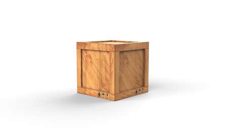 Cargo box. Wooden box. 3D rendering
