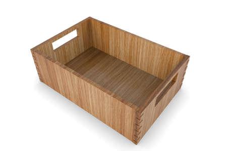 Wooden box. 3D rendering Archivio Fotografico - 124745994