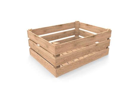 Boite en bois. rendu 3D Banque d'images
