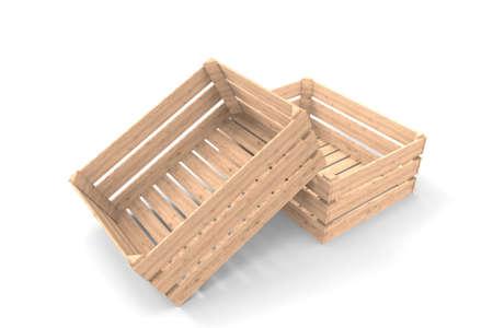 Wooden box. 3D rendering