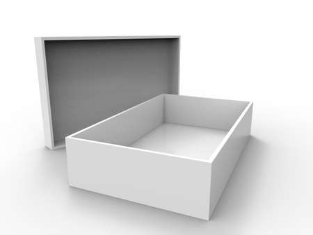 Box on white background. 3D rendering.