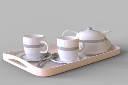 Tea cup set on grey Archivio Fotografico