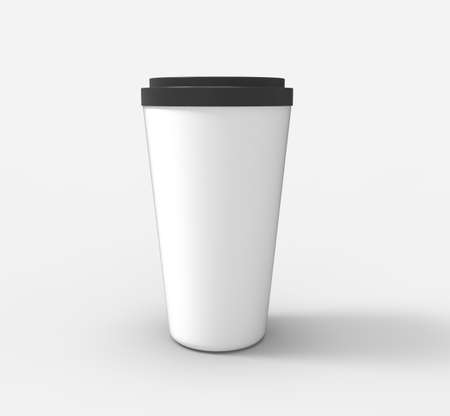 Coffe cup on background.3D rendering. Archivio Fotografico - 135673474