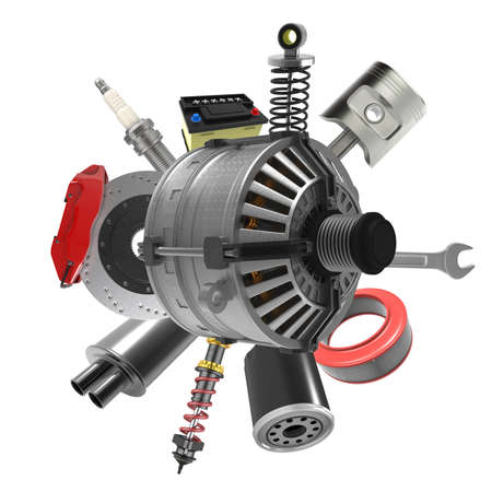 Car parts on white background. 3D rendering
