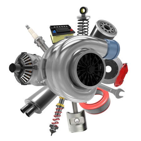 Car parts on white background. 3D rendering Archivio Fotografico - 135672821