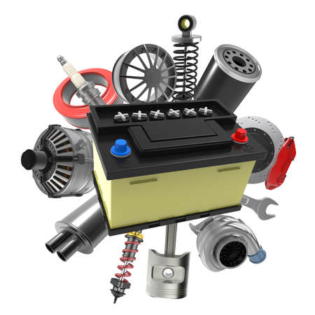 Car parts on white background. 3D rendering Archivio Fotografico - 135672865