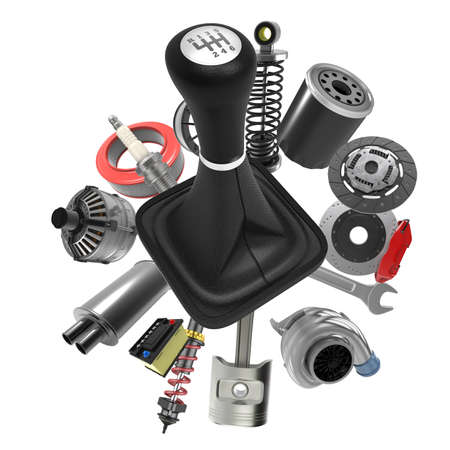 Car parts on white background. 3D rendering Archivio Fotografico - 135672838