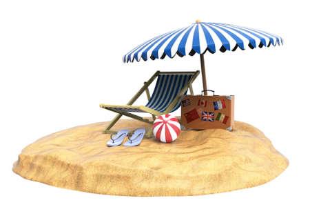 Beach. Chair. Ball. 3D rendering.