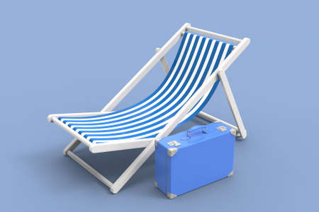 Chair for beach. 3D rendering. Archivio Fotografico - 142772335