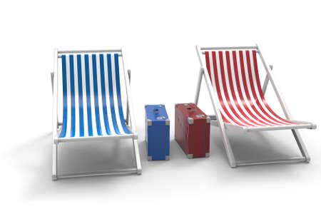 Chair for beach. 3D rendering. Archivio Fotografico