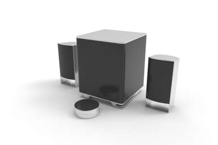 Speakers. Speakers for music. Sound. 3D rendreing. Archivio Fotografico - 142772202