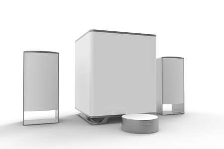 Speakers. Speakers for music. Sound. 3D rendreing.