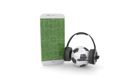Football field on the smartphone screen and ball. Online ticket sales concept Archivio Fotografico