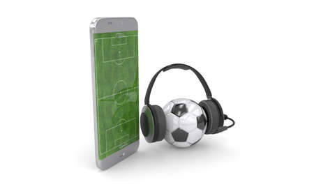 Football field on the smartphone screen and ball. Online ticket sales concept. Archivio Fotografico - 144590235