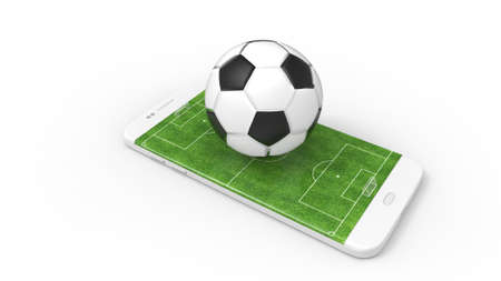 Football field on the smartphone screen and ball. Online ticket sales concept. Archivio Fotografico - 144589912