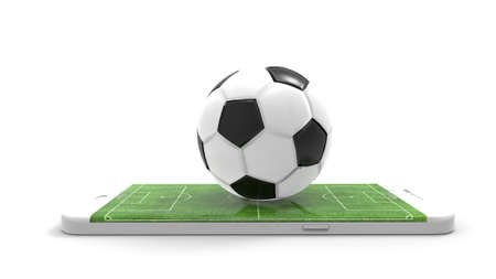 Football field on the smartphone screen and ball. Online ticket sales concept. Archivio Fotografico