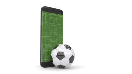Mobile soccer. Moblie football. Football field on the smartphone screen and ball. Online ticket sales concept. 3D rendering. Archivio Fotografico