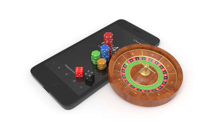 Mobile phone with roulette and casino chips isolated on white Archivio Fotografico - 144589914