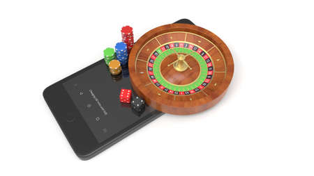 Mobile phone with roulette and casino chips isolated on white Archivio Fotografico - 144589916