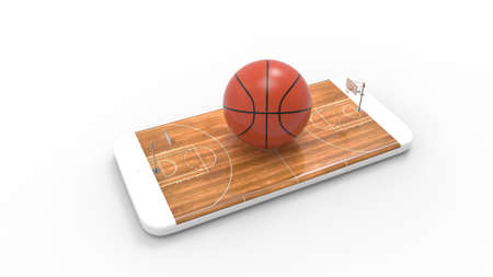 3D illustration of a basketball ball on court on a smartphone screen. Watching basketball and betting online concept. Isolated. 3D rendering. Archivio Fotografico - 144290138