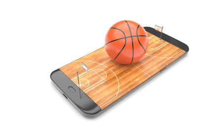 3D illustration of a basketball ball on court on a smartphone screen. Watching basketball and betting online concept. Isolated. 3D rendering. Archivio Fotografico - 144290161