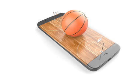 3D illustration of a basketball ball on court on a smartphone screen. Watching basketball and betting online concept. Isolated. 3D rendering.
