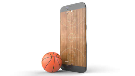 3D illustration of a basketball ball on court on a smartphone screen. Watching basketball and betting online concept. Isolated. 3D rendering. Archivio Fotografico - 144290166