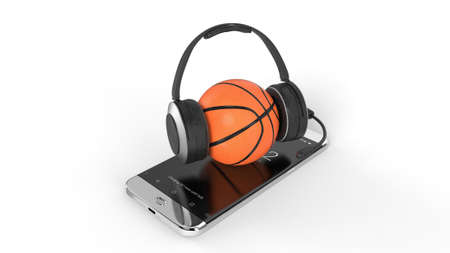 3D illustration of a basketball ball on court on a smartphone screen. Watching basketball and betting online concept. Isolated. 3D rendering. Archivio Fotografico - 144290313