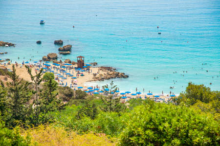 Beautiful landscape at Cavo Greco in Ayia Napa, Cyprus island, Mediterranean Sea. Amazing blue  sea during a sunny day.