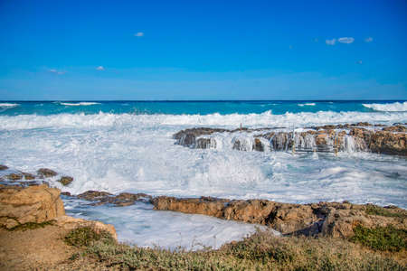 A view of a beautiful sea view in Ayia thekla in Ayia Napa,Cyprus. Banco de Imagens