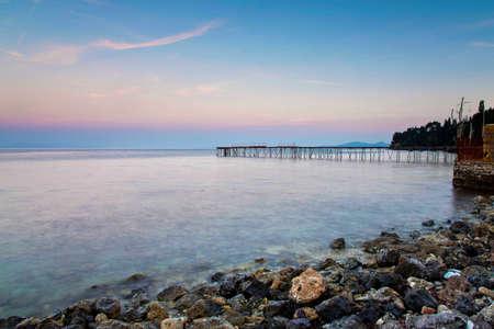 The beautiful pristine beach at Corfu island , Greece