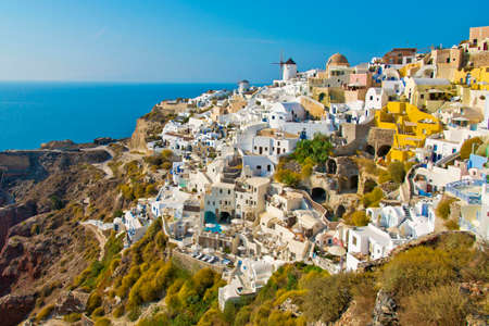 Fira town of Santorini island and the view of volcanic caldera, Santorini, Greece .Very romantic island. Oia village. White houses.Famous travel destination. Island of lovers.