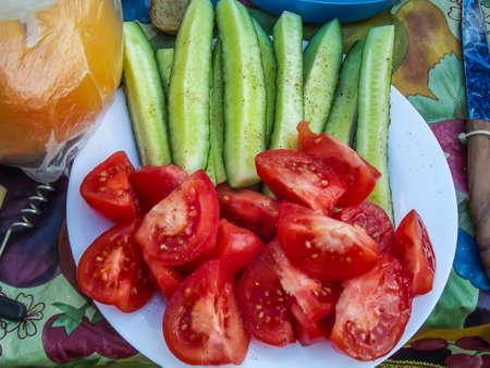 Fresh salad with tomatoes and cucumbers minsk