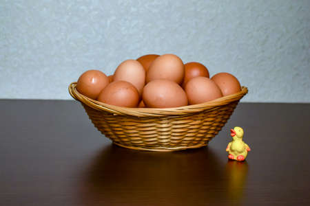 Eggs for cooking are in the Easter basket chicken eggs Stock Photo