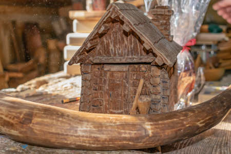 handicrafts made of wood, toys and decorations Stockfoto