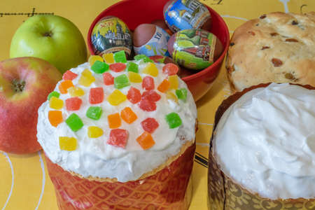 Easter bread and eggs with apples Christian holiday