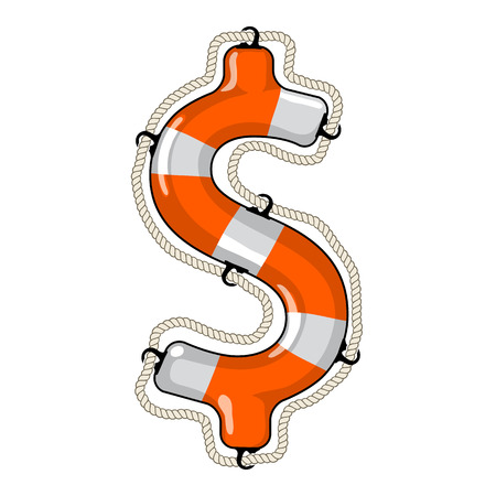 regain: lifebuoy in the shape of a dollar sign is a symbol of economy saving by investment fund to provide economy growth Illustration