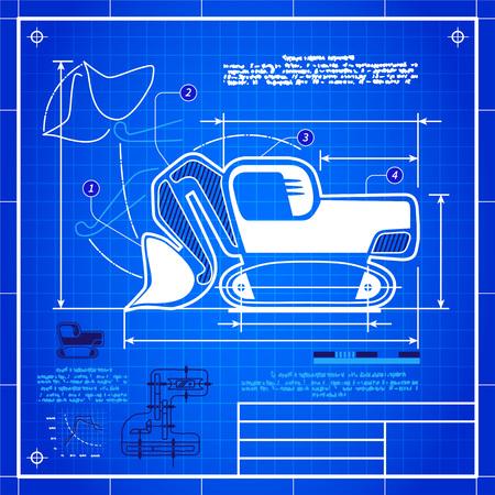 gear box: Classic front shovel bucket excavator symbol stylized blueprint technical drawing. White symbol on blue grid background Illustration