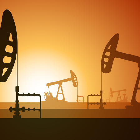illustration of working oil well on sunset background