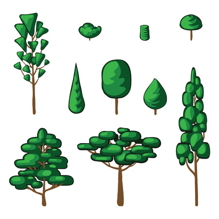 underbrush: Isolated vector plants and trees. Abstract simple drawing