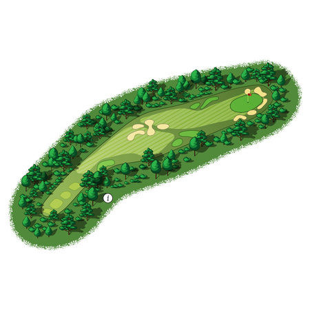 Golf course layout with trees and plants around Illustration
