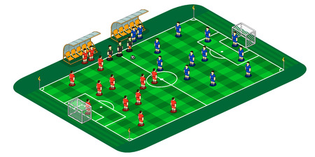 soccer pitch: soccer or football green pitch with striped turf.