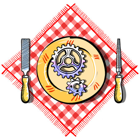 picnic cloth: Vector illustration of file hand tools and gear on plate on the red striped picnic cloth
