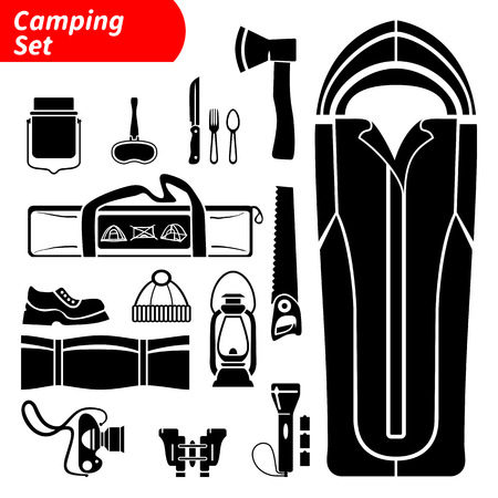 sleeping pad: Silhouette camping black and white isolated vector icons set
