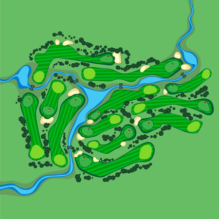 Golf course layout with flags trees plants river and bridges