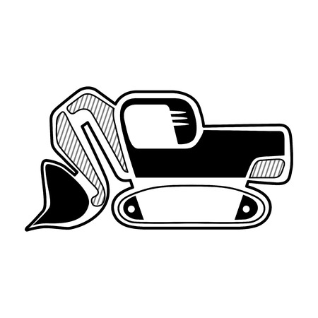 earth mover: Classic front shovel bucket excavator symbol. Isolated black icon